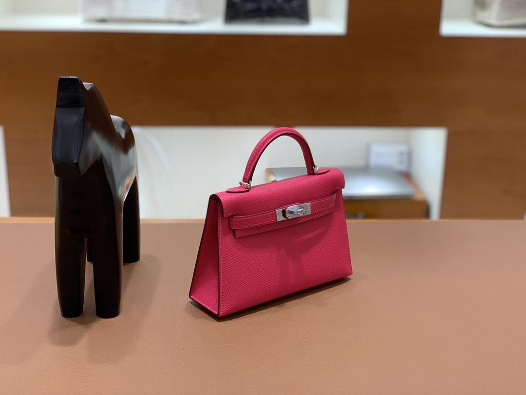 Hermès(爱马仕)mini Kelly 迷你凯莉 Epsom 银扣 i6极致粉 19cm 现货