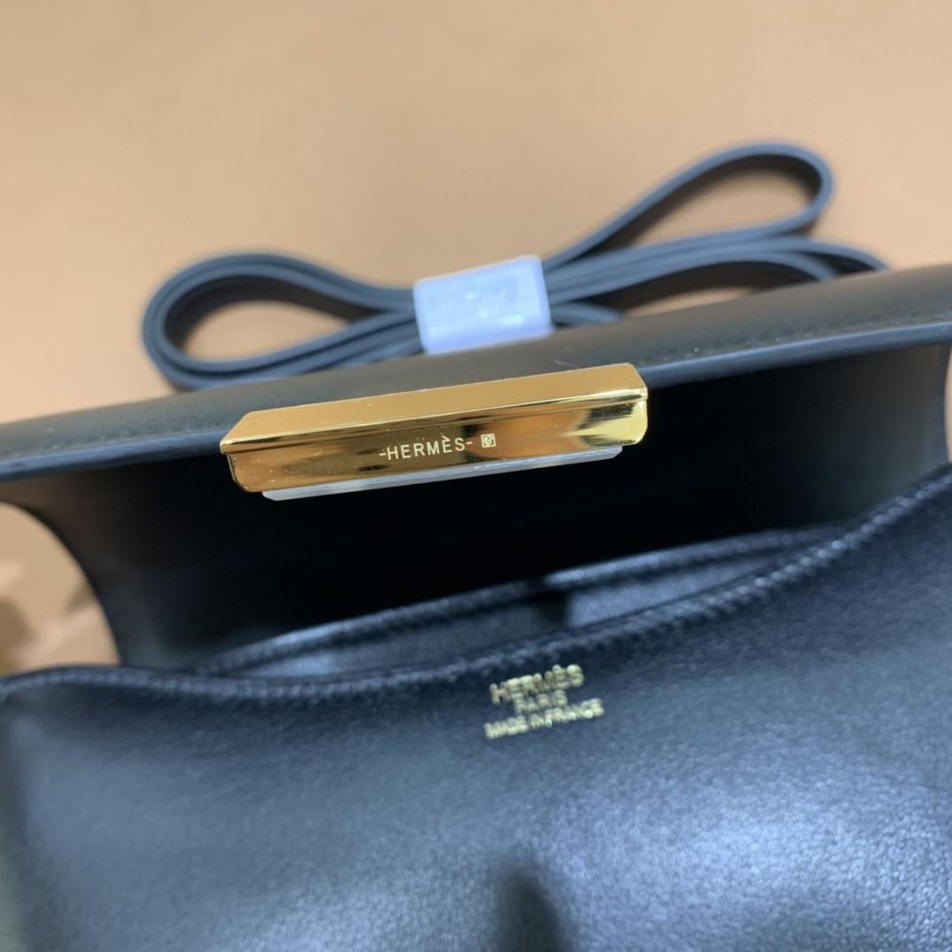 Hermès(爱马仕)Constance 空姐包 swift 黑色 金扣 19cm