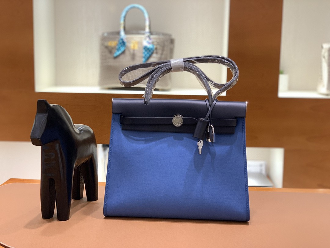 Hermès(爱马仕)herbag Box帆布 黑色拼玛瑙蓝 银扣 31cm