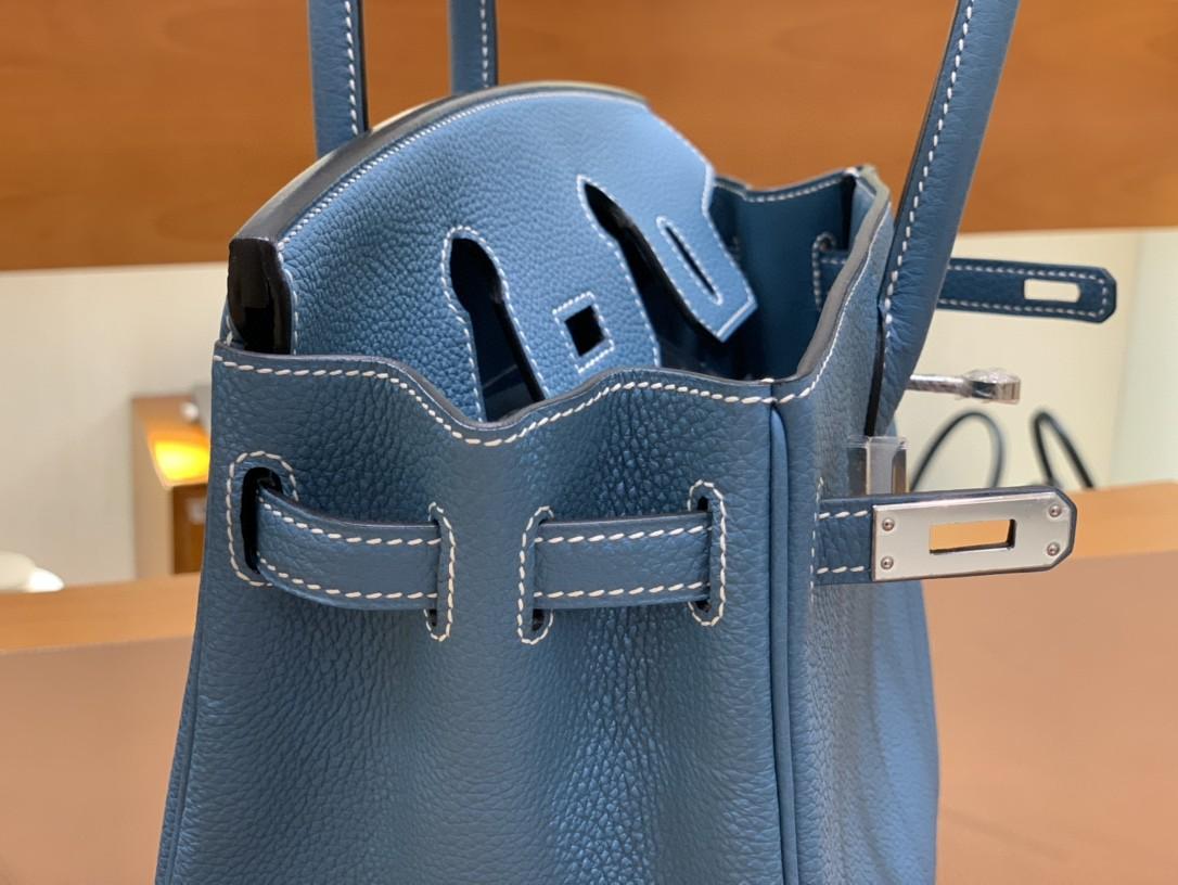 Hermès(爱马仕) Birkin 铂金包 Togo CK75 牛仔蓝 银扣 25cm
