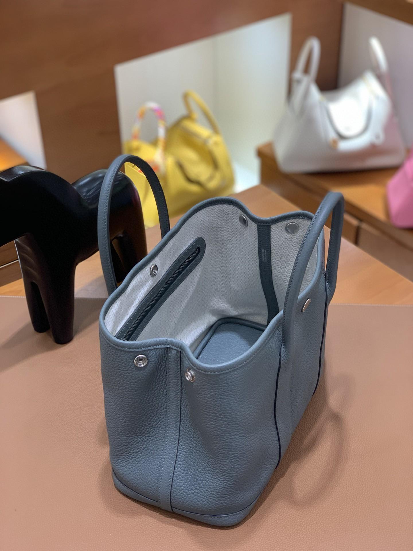 Hermès(爱马仕)Garden Party 花园包 TC 杏仁绿 银扣 30cm