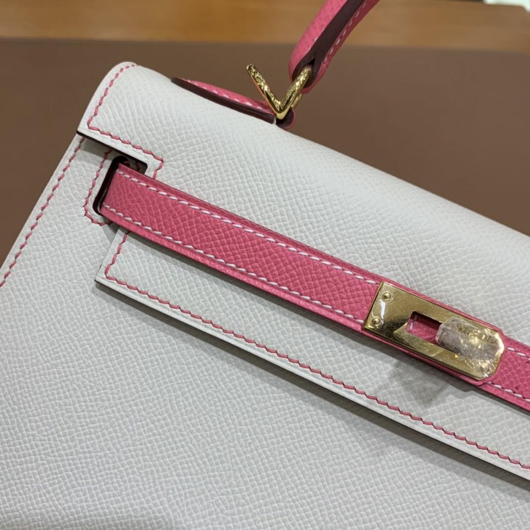 Hermès(爱马仕) Kelly 凯莉包 epsom 唇膏粉拼奶昔白 金扣 反色线 25cm