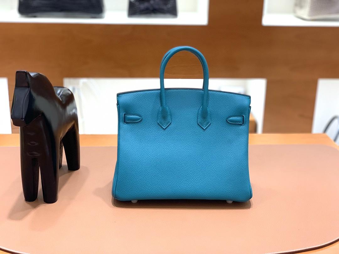 Hermès(爱马仕)Birkin 铂金包 Togo 孔雀蓝 金扣 25cm