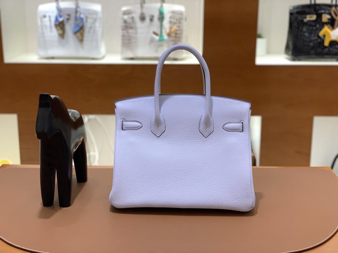 Hermès(爱马仕)Birkin 铂金包 Togo T0 雾蓝 银扣 30cm