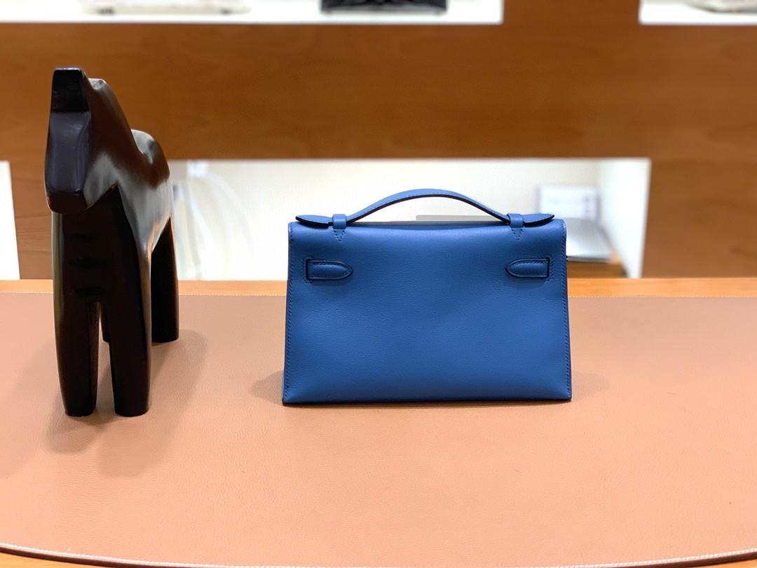 Hermès(爱马仕)mini Kelly 迷你凯莉 swift 坦桑尼亚蓝 金扣 22