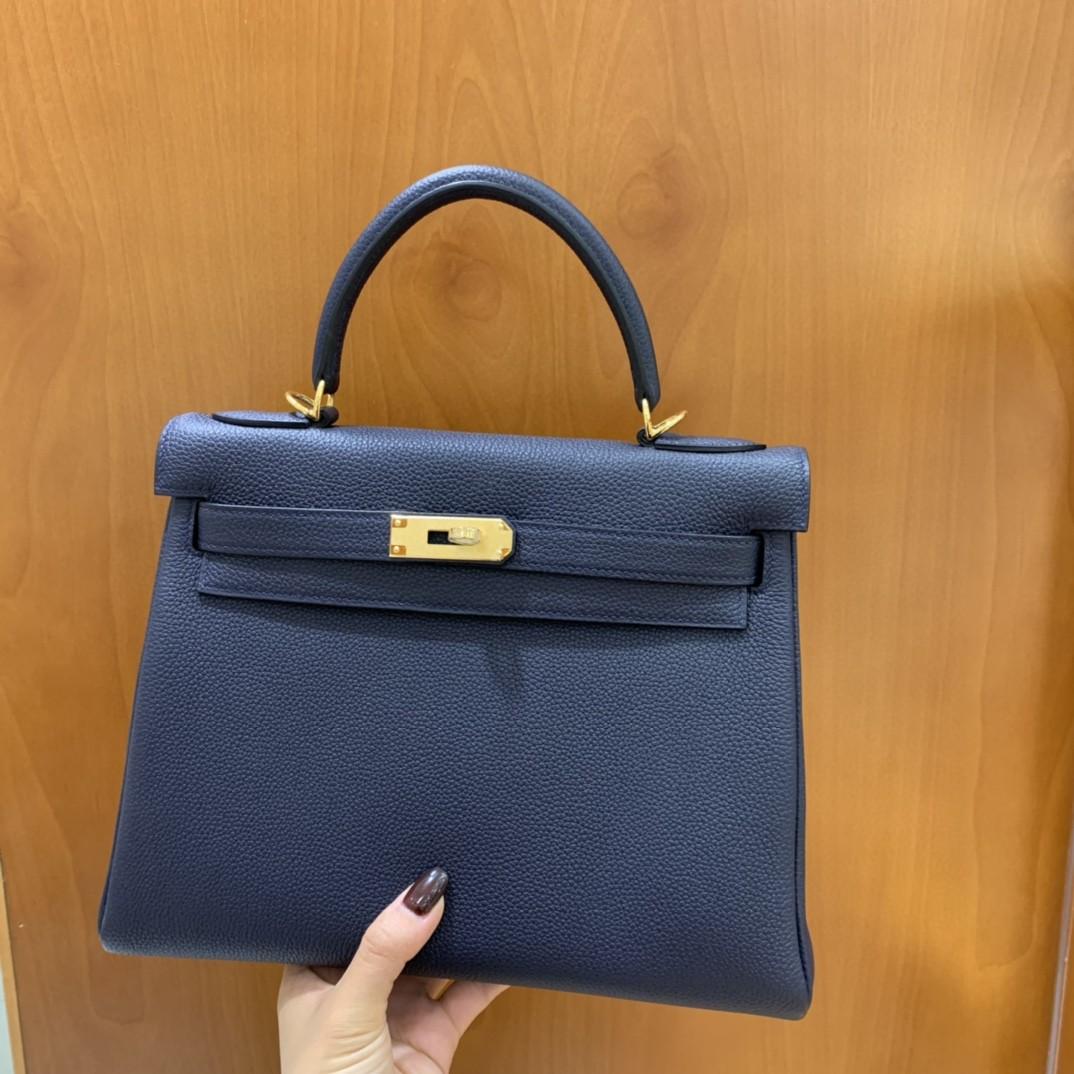 Hermès(爱马仕)Kelly 凯莉包 Togo 午夜蓝 金扣 28cm