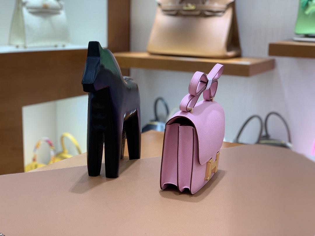 Hermès(爱马仕)Constance 空姐包 Epsom X9锦葵紫 19cm 金扣