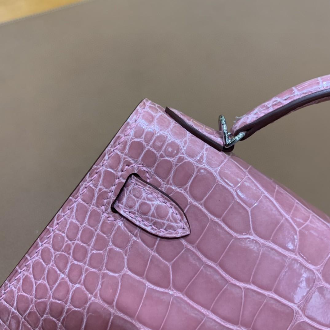 Hermès(爱马仕)minikelly 迷你凯莉 美洲鳄 樱花粉 19cm 银扣