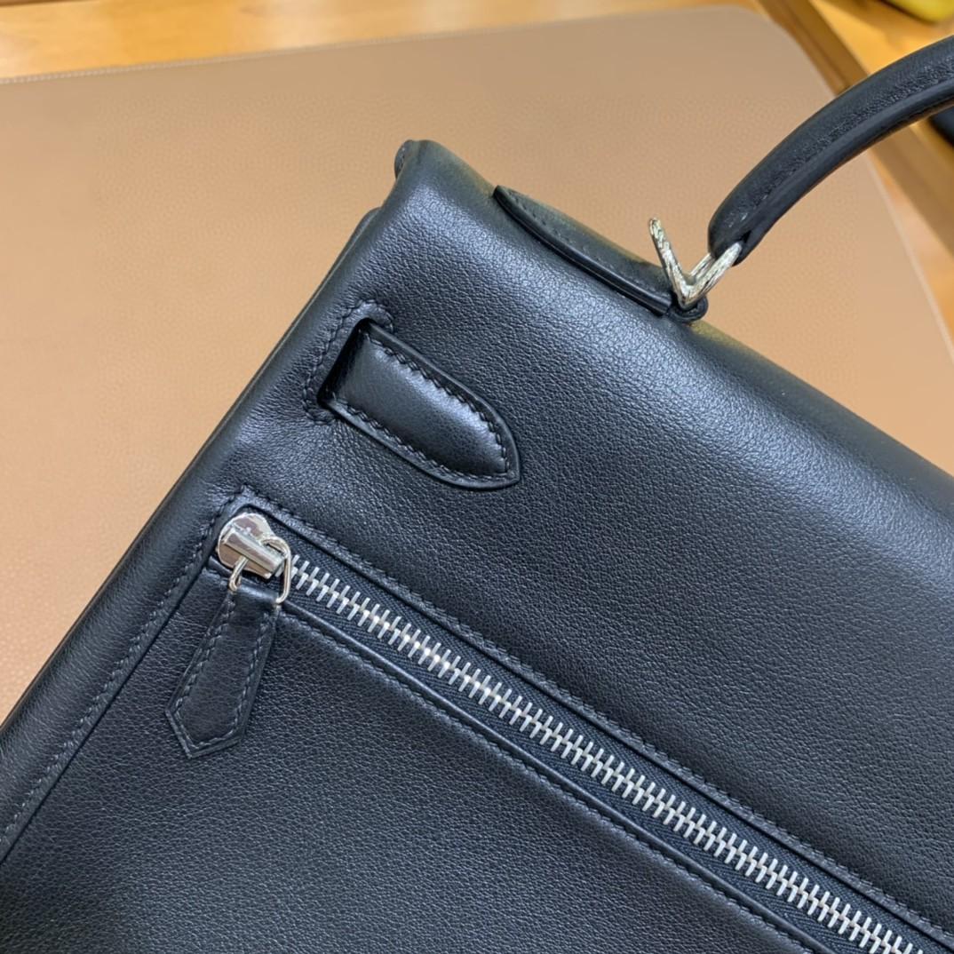 Hermès(爱马仕)Kelly lakis 黑色 swift皮 银扣 32cm 现货