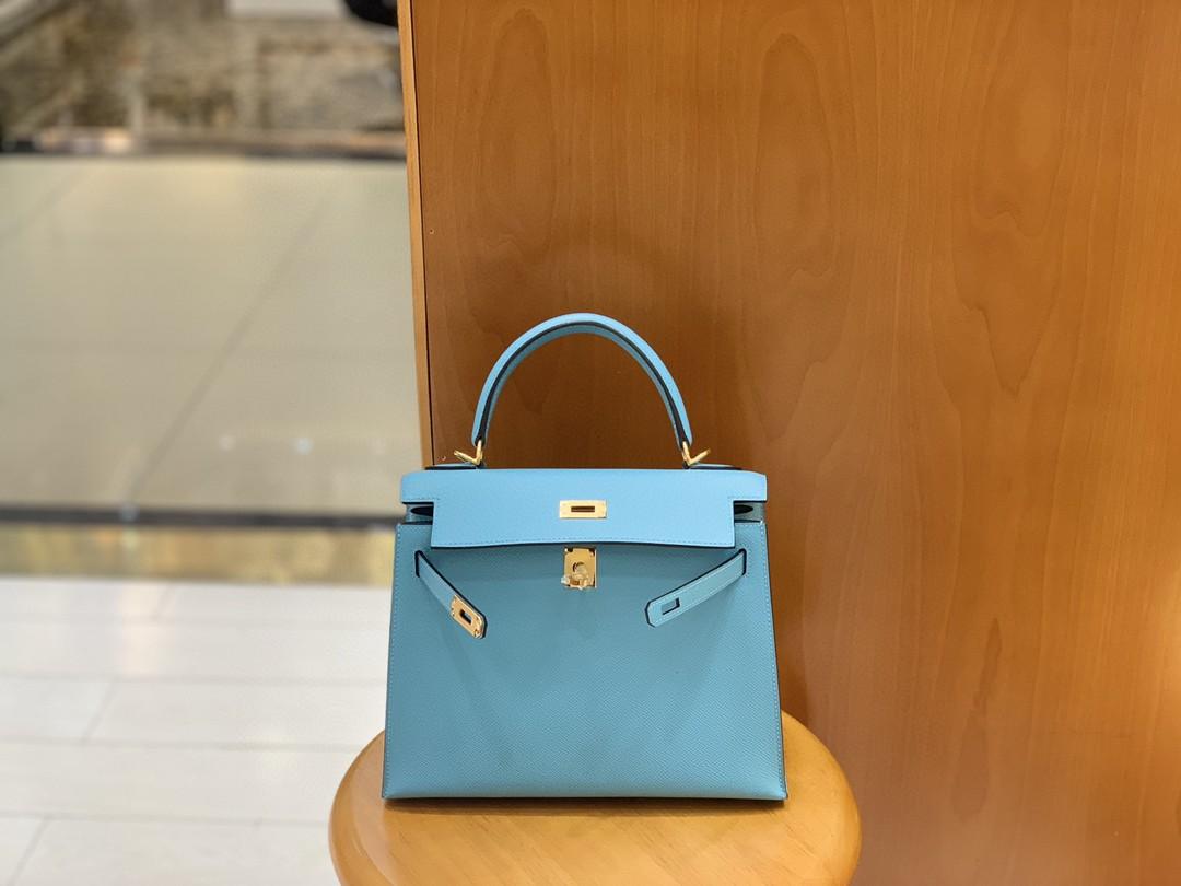Hermès(爱马仕)Kelly 凯莉包 Epsom 北方蓝 金扣 25cm 现货