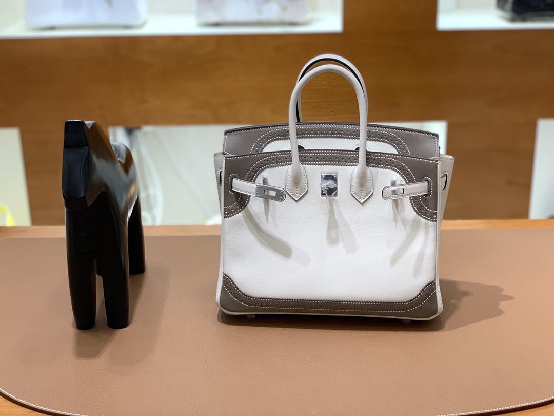Hermès(爱马仕)Birkin 铂金包 swift 蕾丝 钻石灰大象灰 银扣 25cm