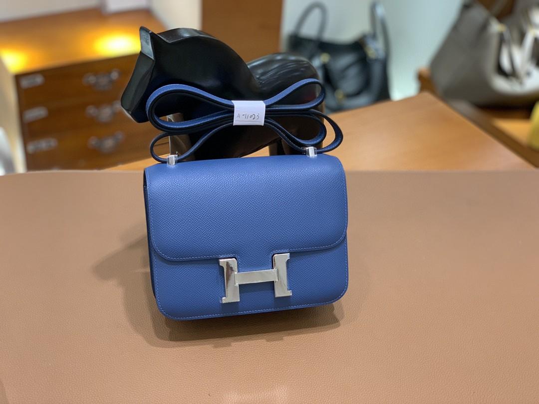 Hermès(爱马仕)Constance 空姐包 Epsom 玛瑙蓝 19cm 银扣