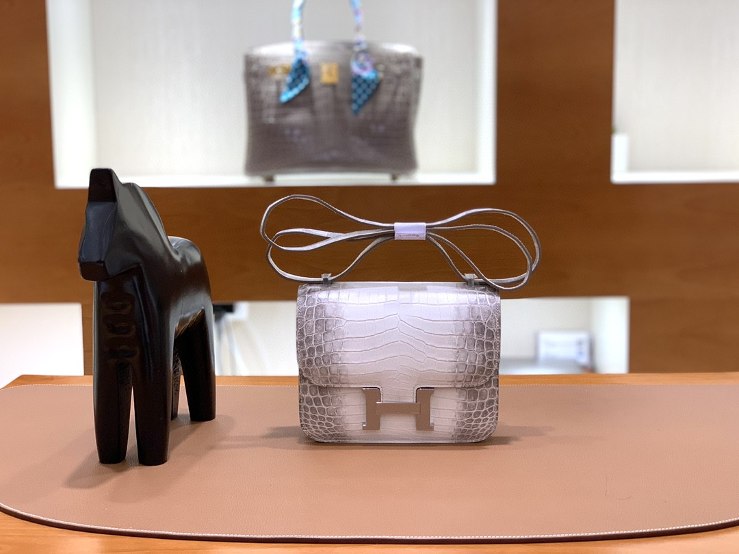 Hermès(爱马仕)Constance 空姐包 尼罗鳄 喜马拉雅 银扣 19cm