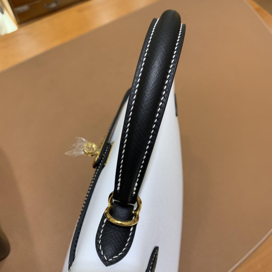Hermès(爱马仕) Kelly 凯莉包 epsom 黑色拼纯白 金扣 反色线 25cm