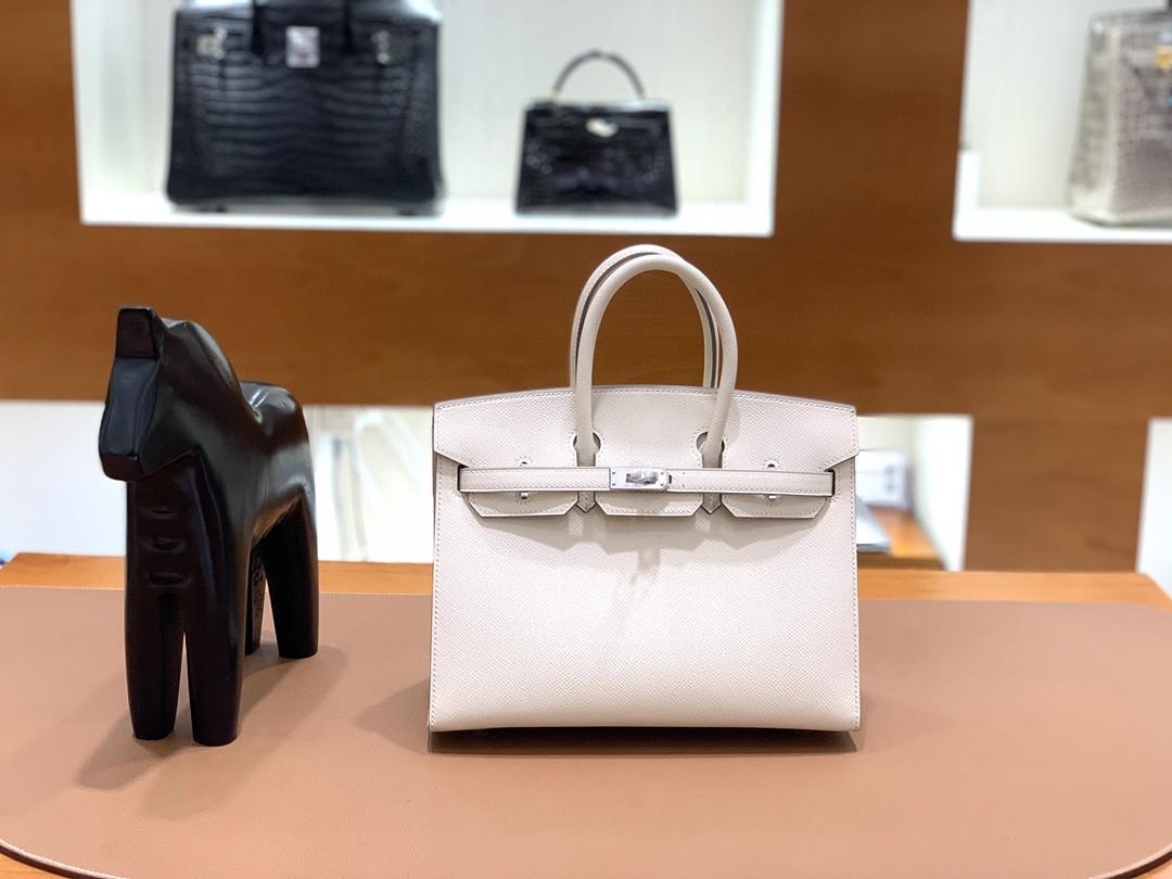 Hermès(爱马仕)Birkin 铂金包 Epsom 奶昔白 银扣 外缝 25cm