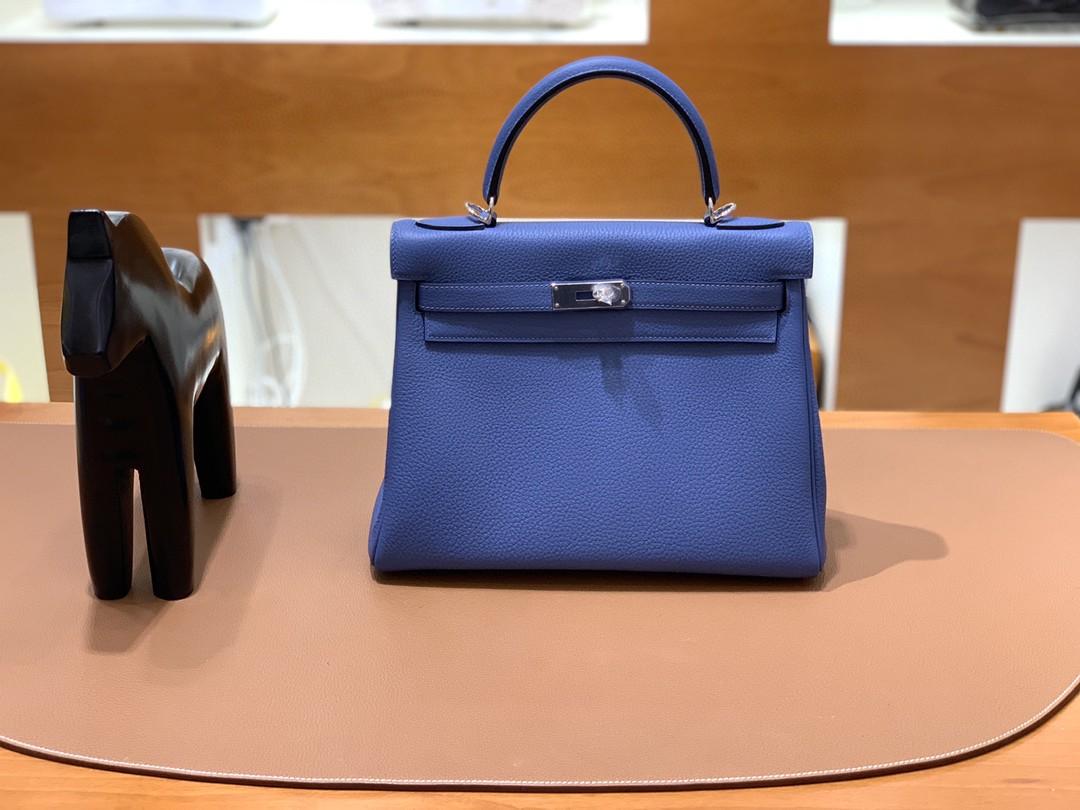 Hermès(爱马仕)kelly 凯莉包 Togo 玛瑙蓝 28cm 银扣