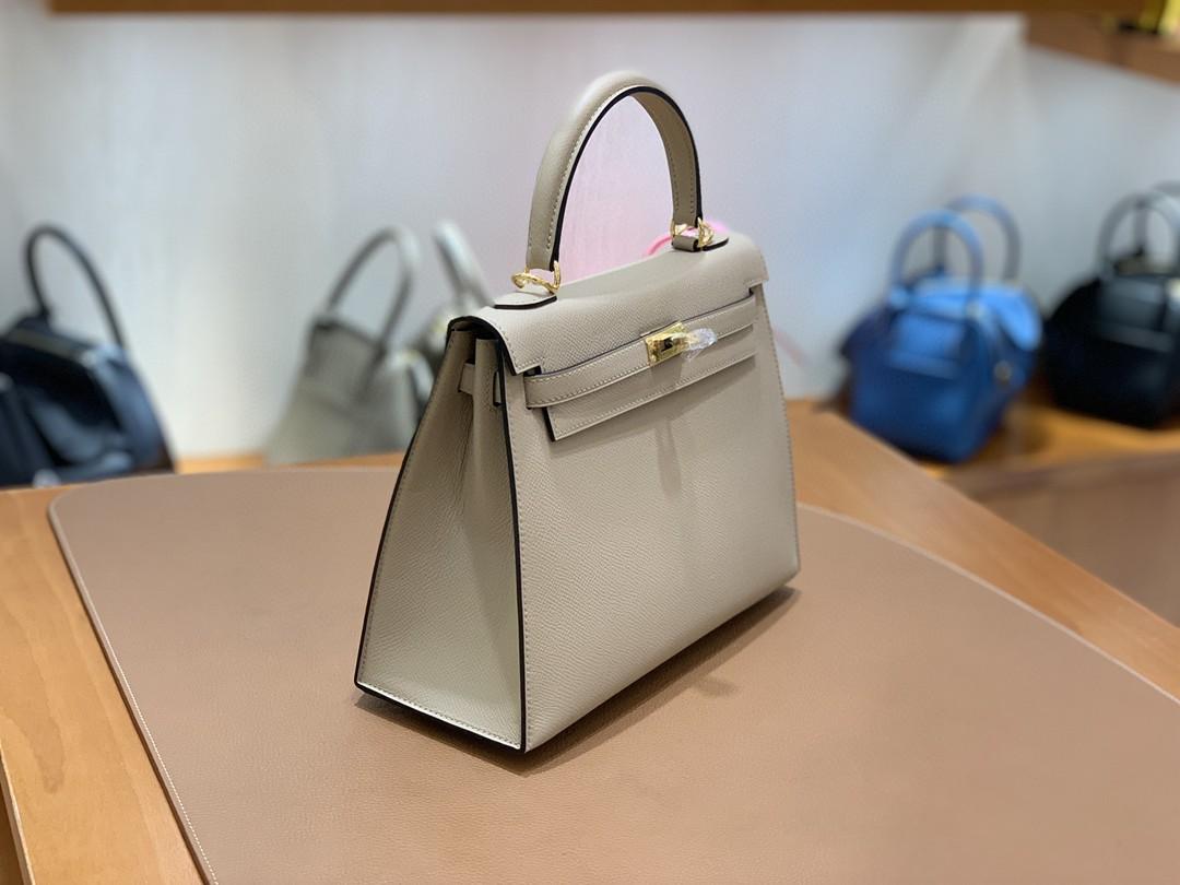 Hermès(爱马仕)Kelly 凯莉包 Epsom 风衣灰 金扣 25cm 现货
