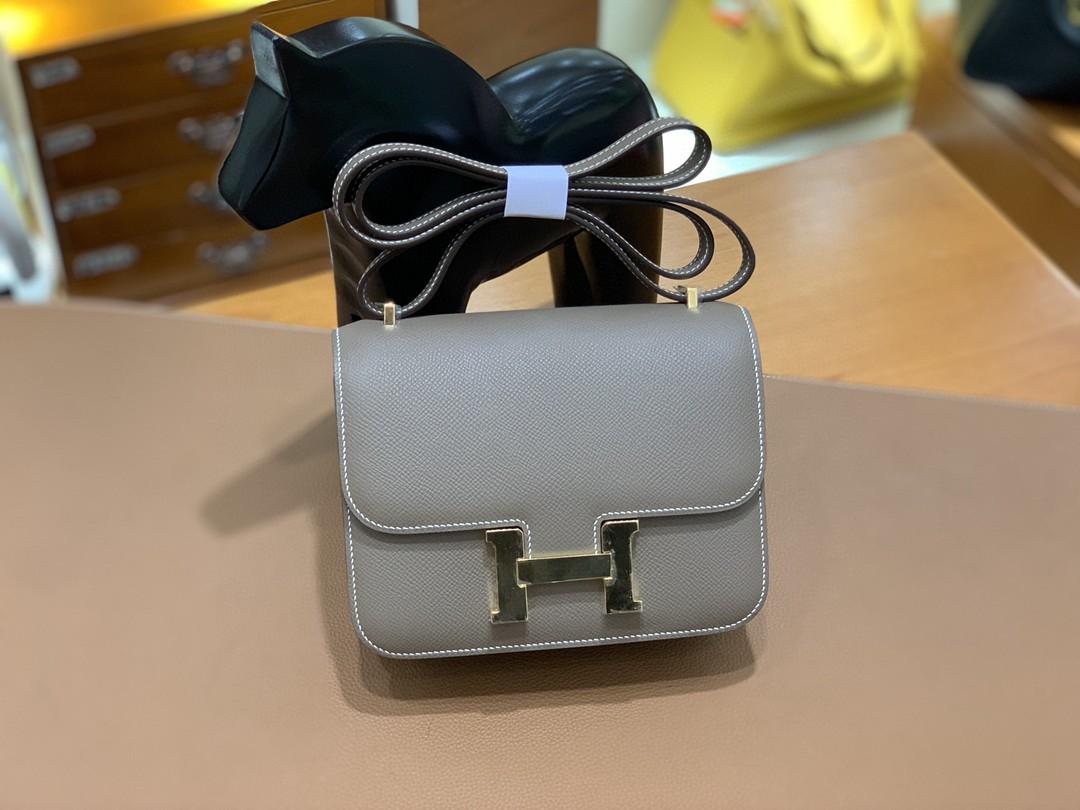Hermès(爱马仕)Constance 空姐包 Epsom 大象灰 19cm 金扣