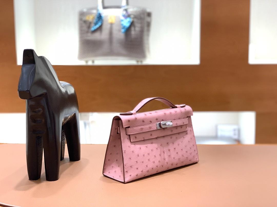 Hermès(爱马仕)mini Kelly 迷你凯莉 鸵鸟皮 陶瓷粉 银扣 22