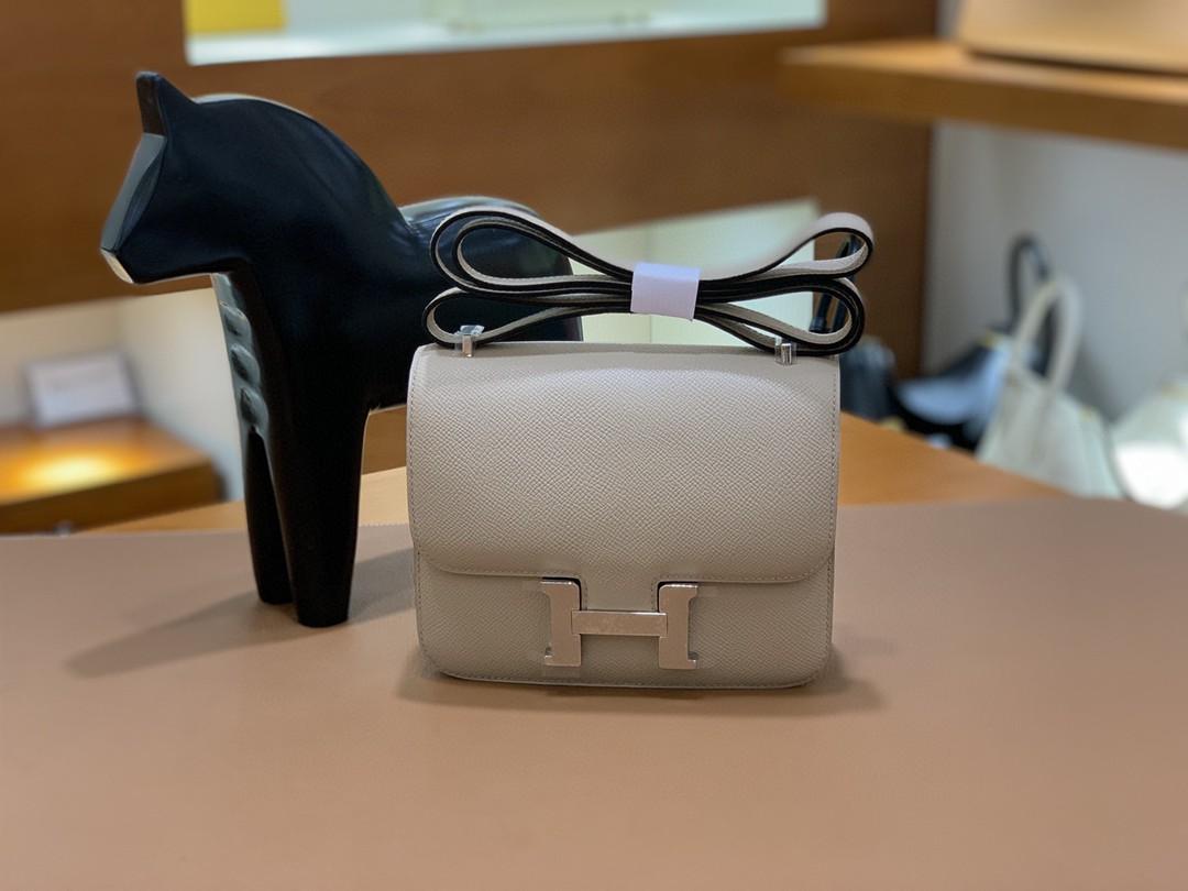 Hermès(爱马仕)Constance 空姐包 Epsom 斑鸠灰 19cm 银扣