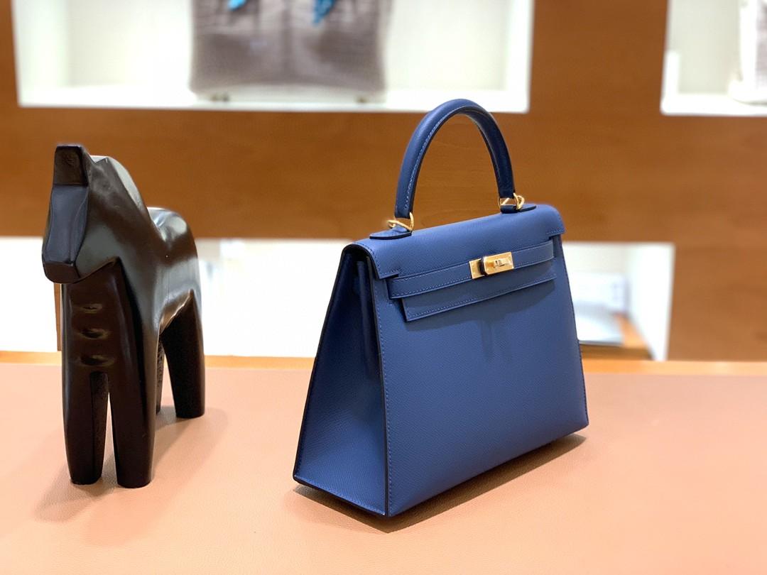 Hermès(爱马仕)Kelly 凯莉包 Epsom 深邃蓝 金扣 25cm