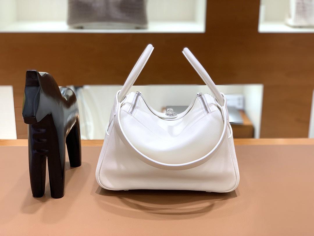 Hermès(爱马仕)Lindy 琳迪包 Evercolor 纯白 银扣 26cm