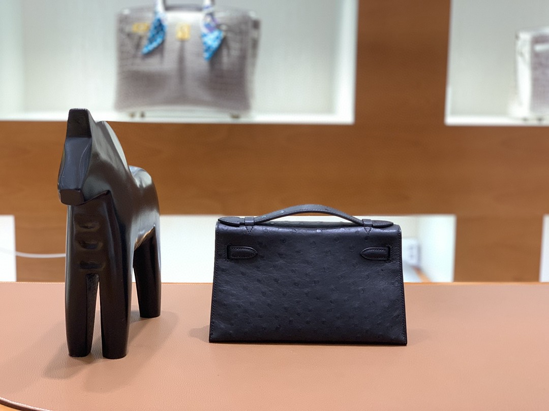 Hermès(爱马仕)mini Kelly 迷你凯莉 鸵鸟皮 黑色 银扣 22