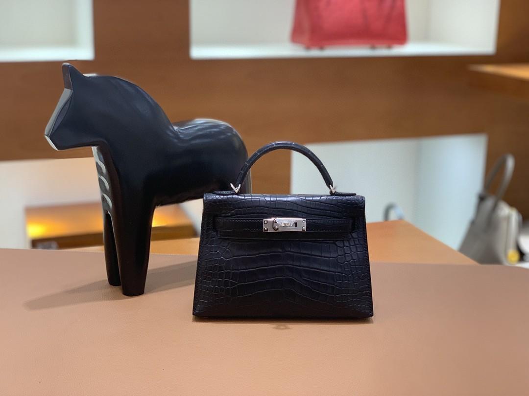 Hermès(爱马仕)mini Kelly 迷你凯莉 雾面 美洲鳄 黑色 银扣 19cm