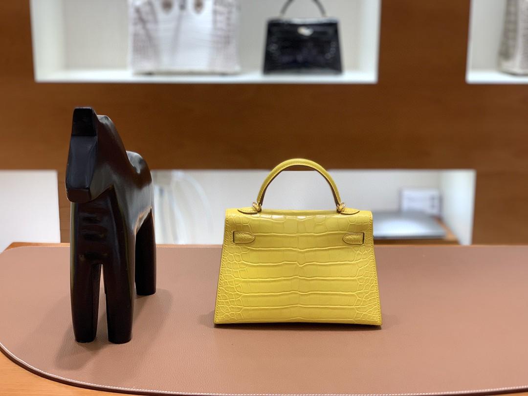 Hermès(爱马仕)mini Kelly 迷你凯莉 雾面美洲鳄 金盏花黄 金扣 19cm