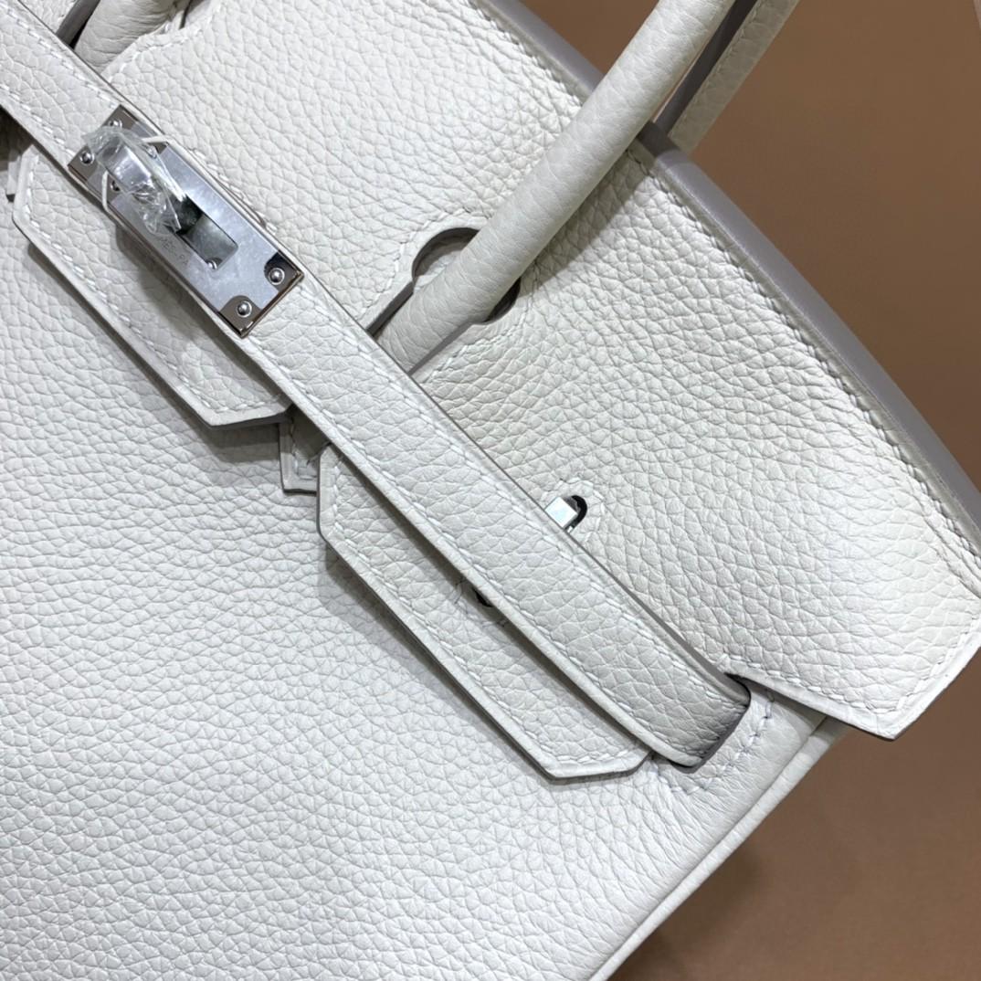 Hermès(爱马仕)Birkin 铂金包 Togo 奶昔白内拼葡萄紫 银扣 25cm
