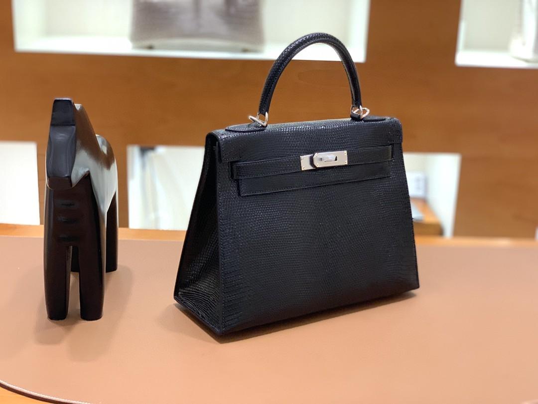Hermès(爱马仕)Kelly 凯莉包 蜥蜴皮 黑色 银扣 28cm