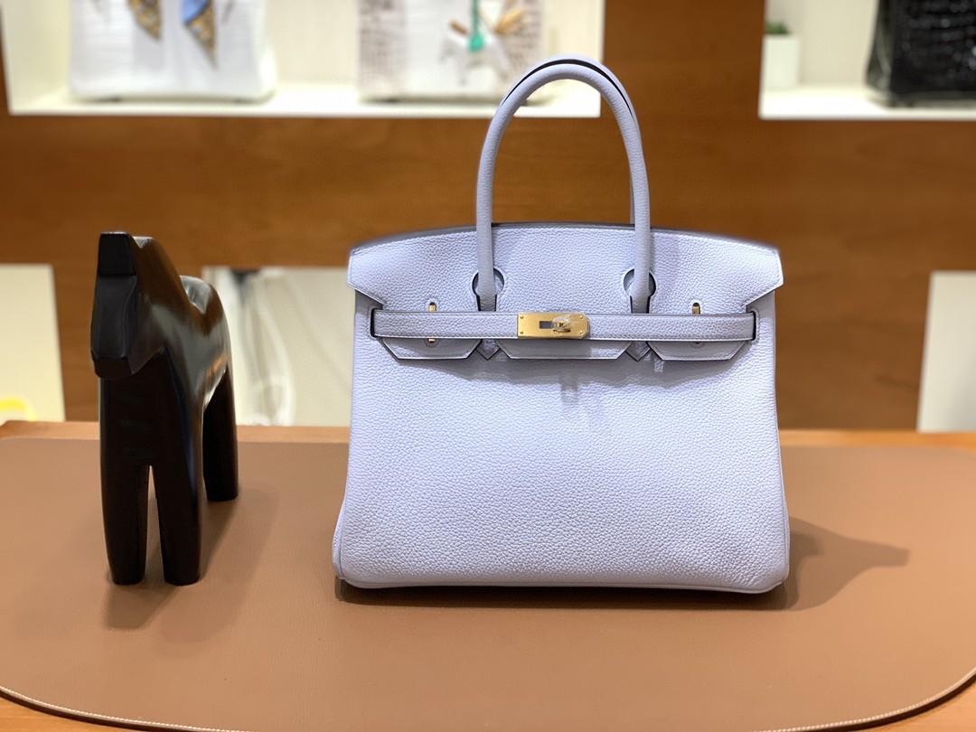 Hermès(爱马仕)Birkin 铂金包 Togo T0 雾蓝 金扣 30cm