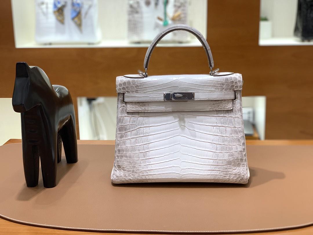 Hermès(爱马仕)kelly 凯莉包 尼罗鳄 喜马拉雅 28cm 银扣