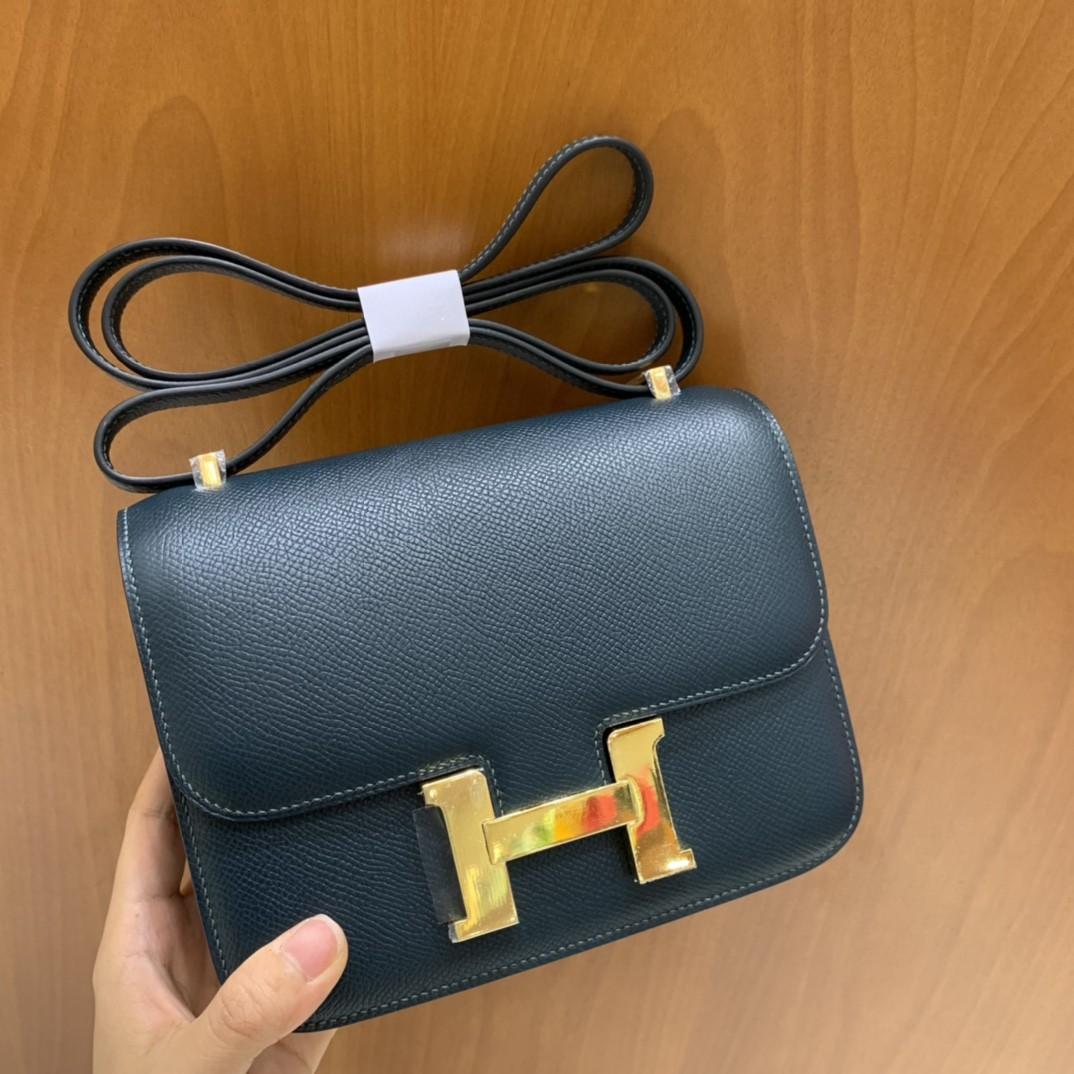 Hermès(爱马仕)Constance 空姐包 Epsom 松柏绿 19cm 金扣