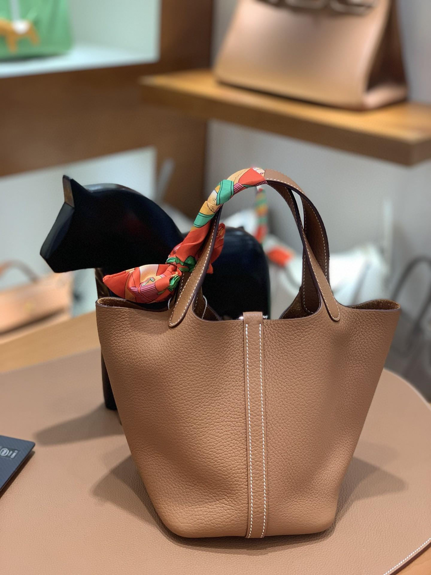 Hermès(爱马仕)Picotin 菜篮子 TC 金棕色 银扣 18cm