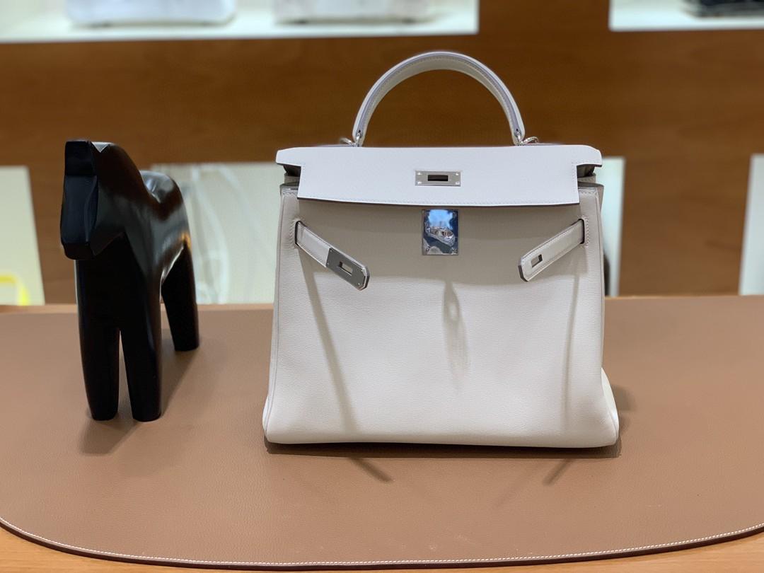 Hermès(爱马仕)Kelly 凯莉包 swift 奶昔白 银扣 28cm