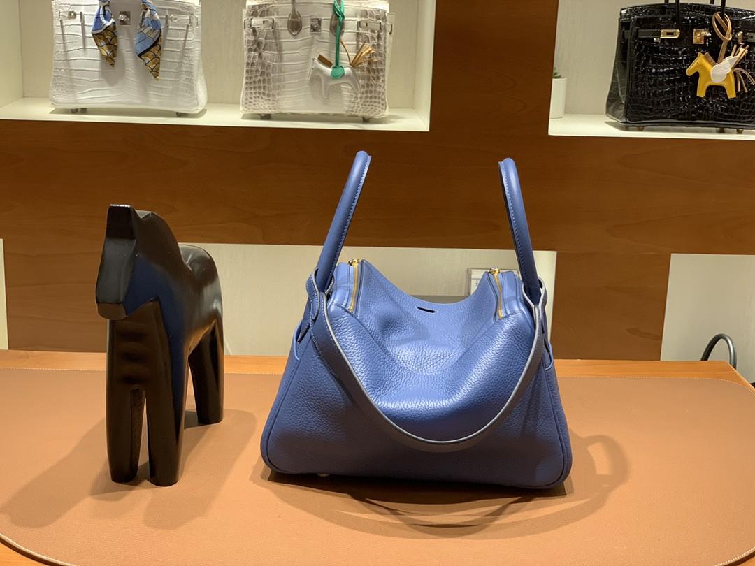 Hermès(爱马仕)Lindy 琳迪包 TC 玛瑙蓝 金扣 26cm