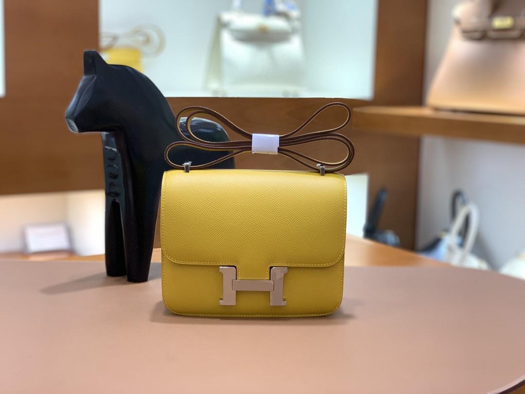 Hermès(爱马仕)Constance 空姐包 Epsom 琥珀黄 19cm 银扣