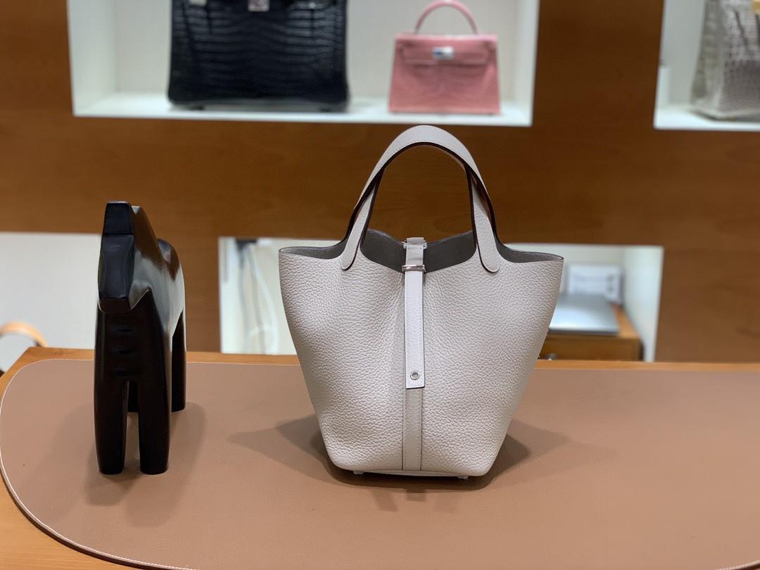 Hermès(爱马仕)Picotin 菜篮包 TC拼Swift 奶油白拼橙色 银扣 18cm