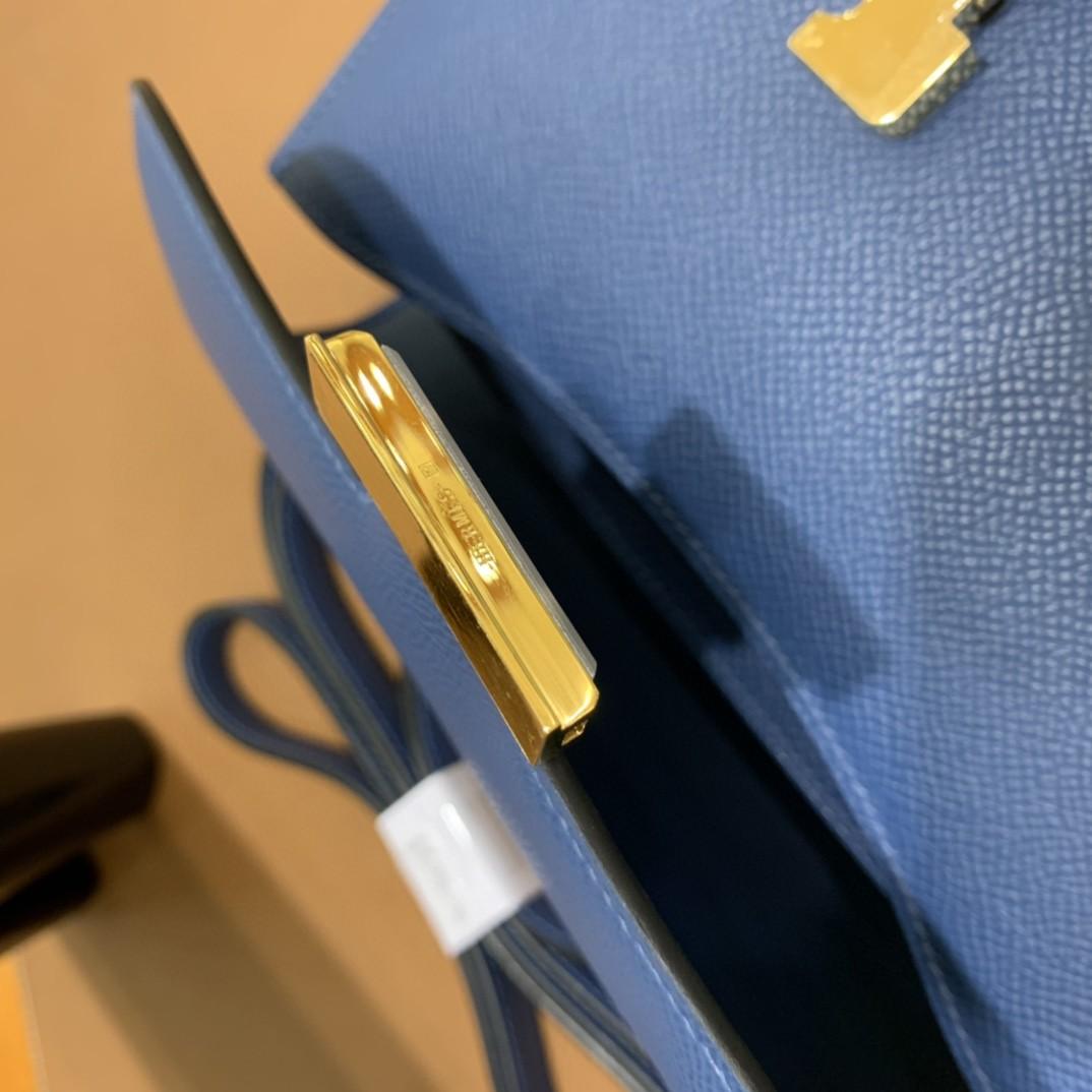 Hermès(爱马仕)Constance 空姐包 Epsom 玛瑙蓝 19cm 金扣
