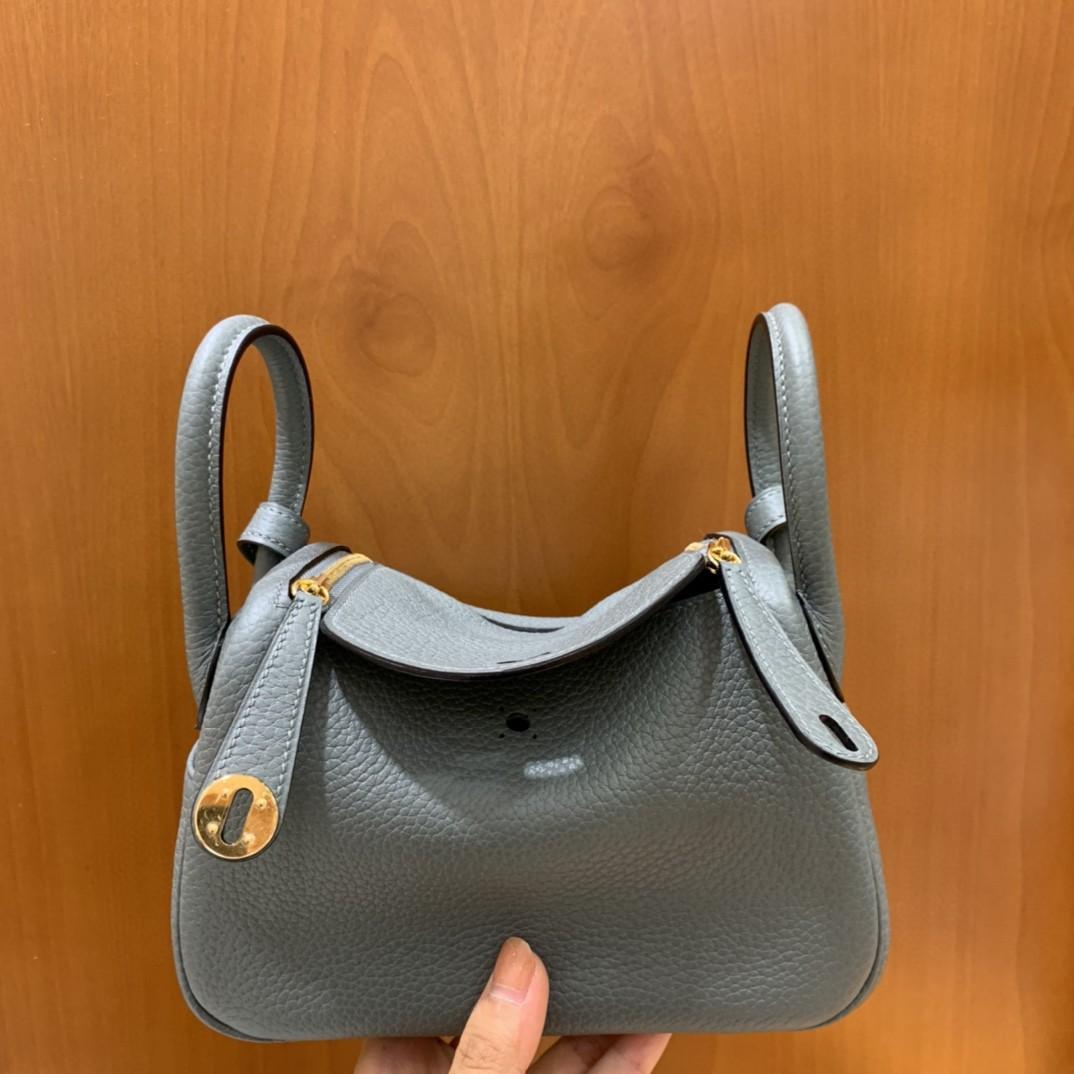 Hermès(爱马仕)mini lindy 迷你琳迪 TC CC63杏仁绿 金扣 19cm