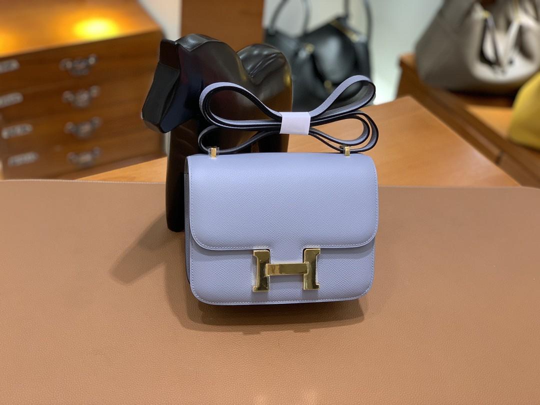 Hermès(爱马仕)Constance 空姐包 Epsom 亚麻蓝 19cm 金扣