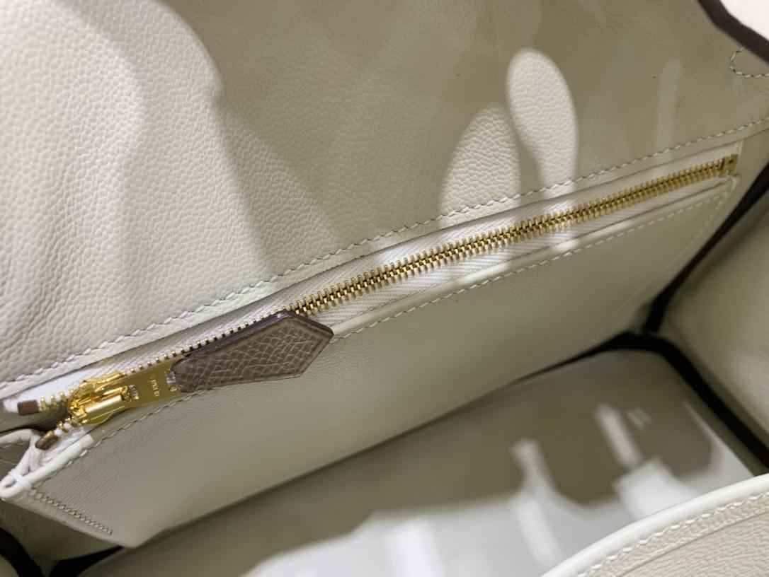 Hermès(爱马仕)Birkin 铂金包 Epsom 奶昔白拼大象灰 金扣 25CM