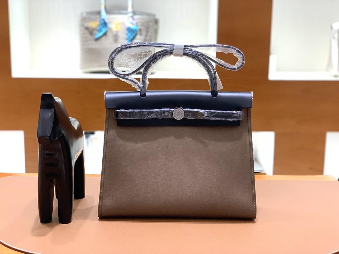 Hermès(爱马仕)herbag Box帆布 黑色拼大象灰帆布 银扣 31cm