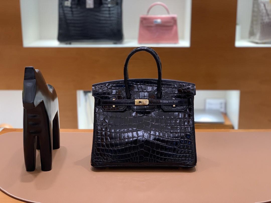 Hermès(爱马仕)Birkin 铂金包 亮面尼罗鳄 黑色 金扣 25cm