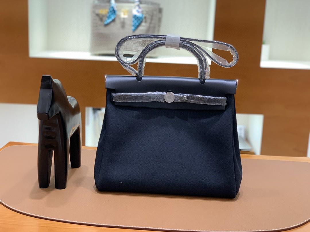 Hermès(爱马仕)herbag Box帆布 黑色 内缝 银扣 31cm