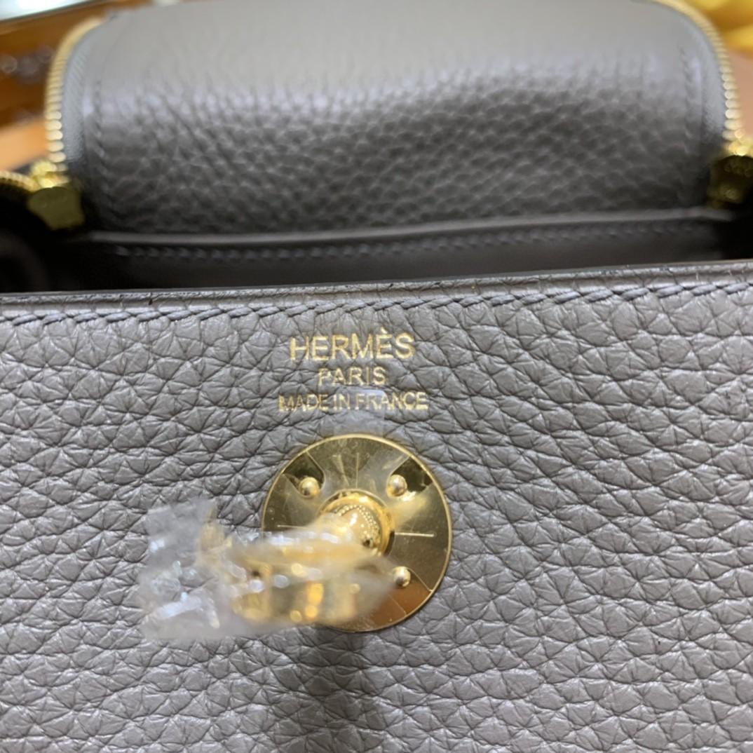 Hermès(爱马仕) minilindy 迷你琳迪 TC 锡器灰 金扣