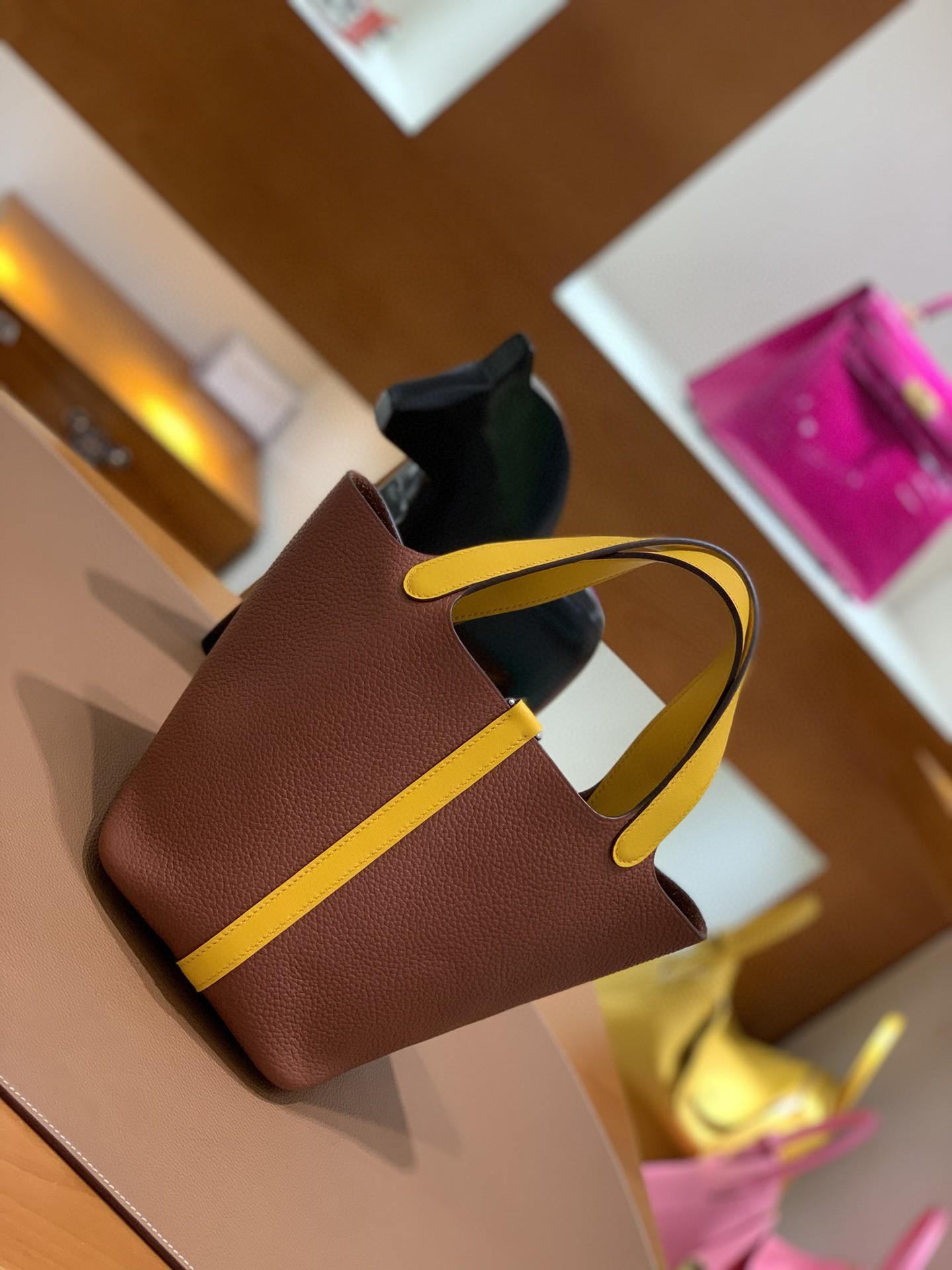 Hermès(爱马仕)Picotin 菜篮子 TCSF 古铜色太阳黄 18cm 银扣