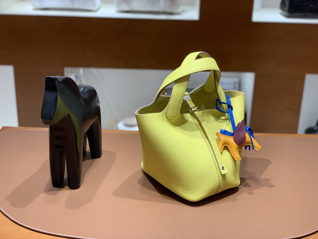 Hermès(爱马仕)Picotin 菜篮子 TC皮 柠檬黄 18cm 银扣