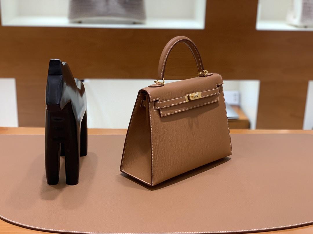 Hermès(爱马仕)Kelly 凯莉包 Epsom 金棕色 金扣 25cm